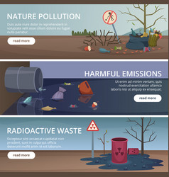 Waste nature banners toxic trash in rivers and vector