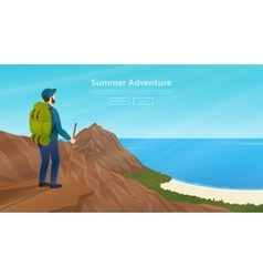 Web banner with traveller vector