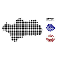 Welcome composition of halftone map of andalusia vector