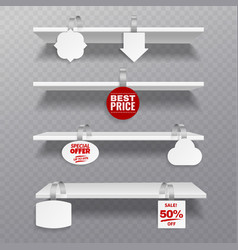 wobbler shelves retail rack bibliotheque shelf vector image