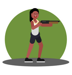 woman with shotgun vector image