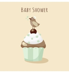 Baby shower invitation birthday card with bird vector