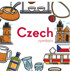 czech symbols promo poster with architecture and vector image vector image