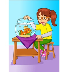Girl With Her Pet vector image