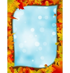 Autumn leaves with background of blue sky EPS 8 vector image vector image