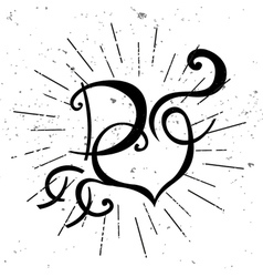 black and white logo with heart vector image vector image