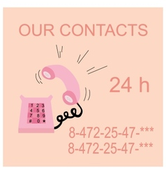 pink caller phone contacts vector image vector image