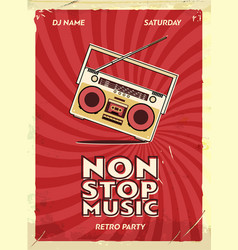 retro party poster design music event at night vector image