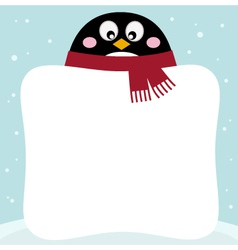 Winter retro penguin with blank banner vector image vector image