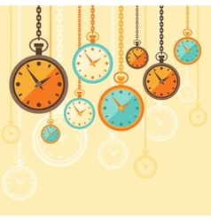 Background with retro watches in flat style vector image