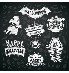 Chalk Halloween Labels on Blackboard Background vector image vector image