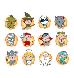 cute halloween monsters vector image
