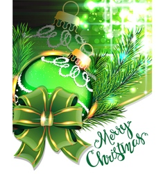 Green bow and Christmas bauble vector image vector image