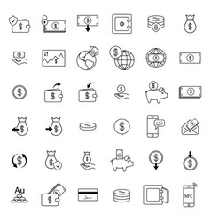 set with money icons vector image