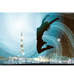 Silhouette of a Girl Jumping in Paris vector image vector image