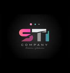 sti s t i three letter logo icon design vector image vector image