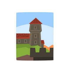 summer landscape with fairytale kingdom cartoon vector image vector image