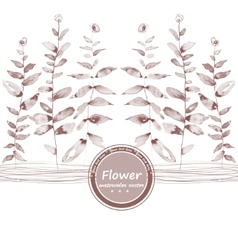 Brown watercolor flowers grisaille edging vector image