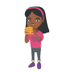 little african-american girl eating a hamburger vector image