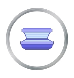 Tanning bed icon in cartoon style isolated on vector