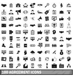 100 agreement icons set simple style vector