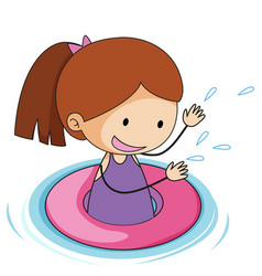 a girl with rubber ring doodle cartoon character vector image