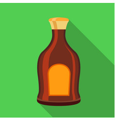 alcohol brown bottle icon flat style vector image vector image
