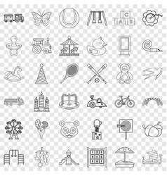 Amusing icons set outline style vector