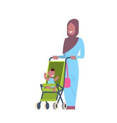 arabic mother baby son in stroller full length vector image