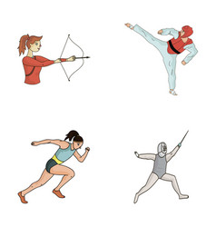 Archery karate running fencing olympic sport vector