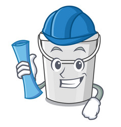Architect plastic tube bucket cartoon shape vector