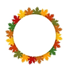 Autumn round label Maple leaves vector image