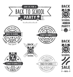 Back to school invitation emblems vector
