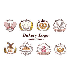 bakery and donuts collections logo flat color vector image