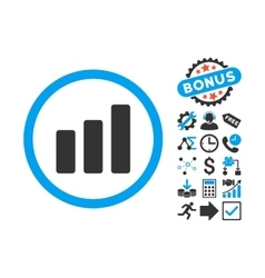 Bar Chart Increase Flat Icon with Bonus vector image