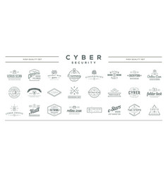 Big set cyber security identity badges vector