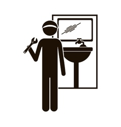 Black silhouette plumber with spanner in bathroom vector