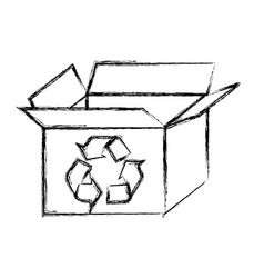 Blurred silhouette carton box with recycling vector