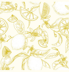 botanical seamless pattern with ripe lemons vector image
