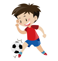 Boy in red shirt playing football vector