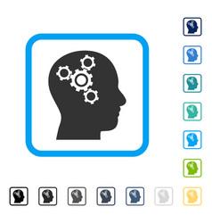 brain mechanics framed icon vector image