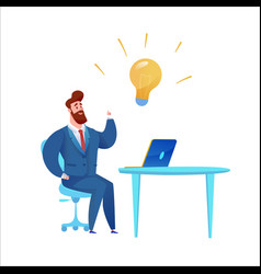 business man in suit with light bulb vector image