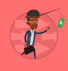 businessman trying to catch money on fishing rod vector image