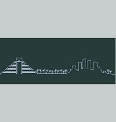 Cancun single line skyline vector