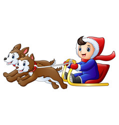 cartoon boy riding a sleigh vector image