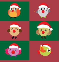 cartoon cute christmas bird vector image