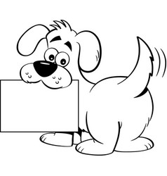 Cartoon dog holding a sign vector