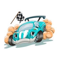 Cartoon racing car rushes along track vector