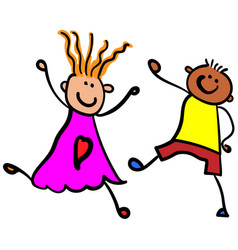 Children playing boy with girl color vector
