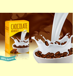 Chocolate breakfast cereals realistic composition vector